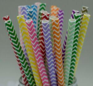 Paper straws party rainbow stripe birthday wedding chevron UK stock Quantity x25