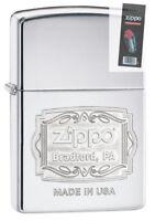 Zippo 29521 Bradford PA High Polish Chrome Finish Full Size Lighter + FLINT PACK