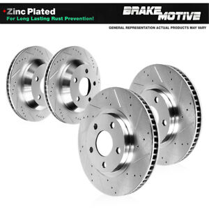 Front & Rear Drilled Slotted Brake Rotors For 2018 Toyota Camry