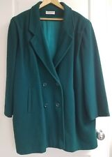 Forecaster of Boston Sz 22 Green Wool Blend Double Breasted Coat with Pockets