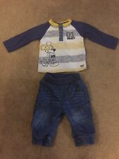 George Disney Mickey Mouse Top & Soft Jeans Outfit Set Size 3-6 Months Cute VGC