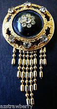 VTG Deco Goldtone Fringe Black Enamel Crystal rhinestone pin brooch or pendant