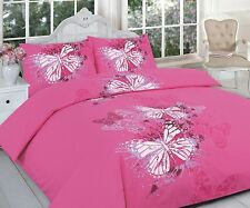 Butterfly Pattern Duvet Bedding Set in Colours and Sizes King Pink