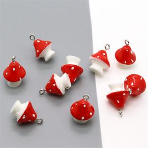 10X Resin Red mushroom pendant earring Keychain jewelry accessorie 20X15mm