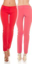 Pantaloni da donna rosso in poliestere con gamba dritta