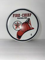 Texaco Fire-Chief Gasoline ROUND TIN SIGN Metal Garage Station Gas and Oil Ad