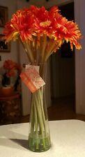 Gardeners Eden Sunflower Arrangement Red Gold Silk Floral Faux Water Glass Vase