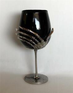 "Halloween Large Silver Metal Skeleton Hand Black Stemless 8"" Wine Glass Goblet"