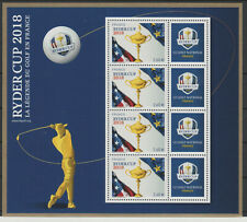 France 2018 - BF YT n°144 mini-feuillet Bloc 4 timbres Ryder Cup Golf LUXE MNH