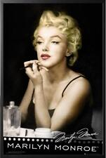 Marilyn Monroe Lipstick Vanity Poster in Black Wood Frame 24x36