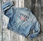 RARE 1993 Vintage Guess Jean Jacket Large Denim Zip Up Stars Patriotic Spell Out
