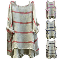 Plus Size Women Summer Long Sleeve T Shirt Blouse Tunic Loose Casual Striped Top