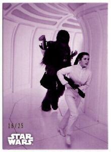 Star Wars ESB Black & White Purple Parallel card, #123 Racing To Save Han, 16/25