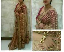 Bollywood Designer Party Wear Beige Color Net Fabric Thread  Saree