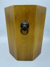 Vintage Mid Century Wooden Octagon Trash Can Wastebasket Lion Head Handles