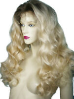 Human Hair Indian Remi Remy Full Lace Wig Blonde Mix T-Color Body Wave Ombre