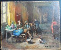 ORIGINAL OIL PAINTING OF PEOPLE DINING ARTIST SIGNED K. T. RAYMOND