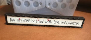 """HOME FILLED LOVE LAUGHTER inspirational block country shelf sitter wood sign 12"""""""