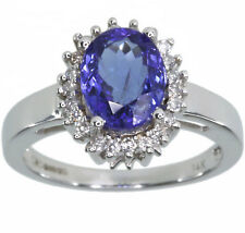 Tanzanite Gemstone Oval and Diamond 14ct White Gold Ring size N