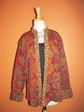 Coldwater Creek Size L Red Floral Animal Print Tapestry Chenille Jacket