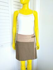 CHLOE Leather Silk Blend Wrap Skirt in Gris Vert Size 36 FR or 4 US Retail $1795