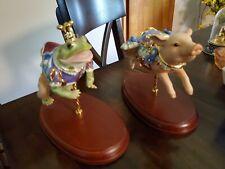 Lenox Blue Ribbon Pig and Frog Prince Carousel Porcelain Figurine Sculptures
