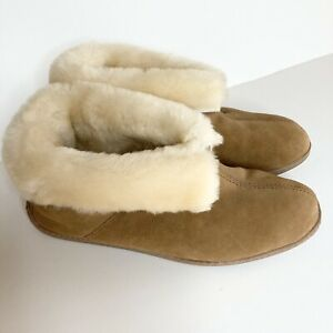 Minnetonka Slippers Indoor Outdoor Sheepskin Ankle Boot Tan Mens 12 Excellent