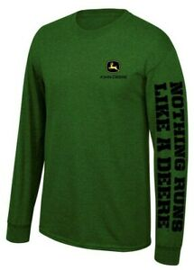NEW John Deere Green Long Sleeve  Logo T-Shirt Size M, L, XL, 2X,
