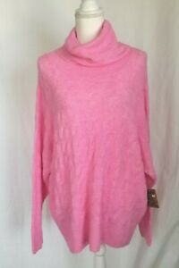New W/Tag Anthropologie Pink Cable Knit Turtle Neck Sweater Large