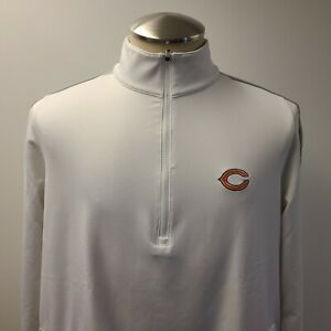 Antigua Chicago Bears 1/4 Zip Long Sleeve Pullover White Size Women's L ~ Used