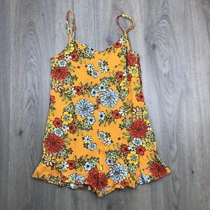 Cotton On Romper Linen Blend Playsuit Sz XS Retro Floral Boho Hippy  EUC C