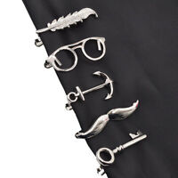 Silver Men's Copper Tie Clip Necktie Anchor Feather Design Bar Clasp Tie Clip