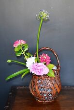 Japanese Bamboo Basket Ikebana Tea Ceremony Flower Antique Vase Flower Vintage