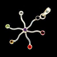 "Multi-stone Flower 925 Sterling Silver Pendant 1 3/4"" Jewelry P682018F"