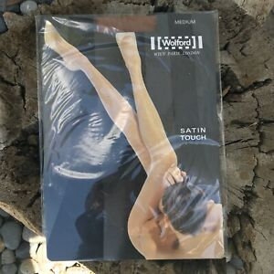 NWT Vintage Wolford Satin Touch Tights Size Medium Honey Brown Sheer Sheen Shiny