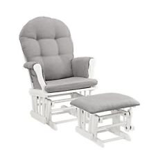 Baby Nursery Glider Ottoman Rocker Rocking Chair Padded Arms  White Gray Cushion