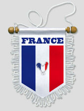FANION VOITURE FRANCE COQ FOOTBALL RUGBY 13 X 15 CM