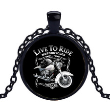 Vintage Live To Ride Black Cabochon Glass Necklace chain Pendant