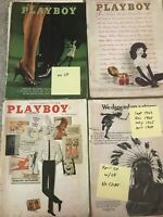 VINTAGE ISSUES of 1960's PLAYBOY MAGAZINES Lot Of 4 Three w/ Centerfolds