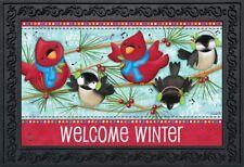 """Winter Songbirds Doormat Welcome Primitive Indoor Outdoor 18"""" x 30"""""""