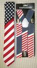 "US Flag American Flag 1 1/2"" Adjustable Suspenders&US Patriotic Flag Neck Tie-v1"