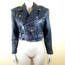 Vintage Wilson's Leather Women's Small Black Crop Moto Biker Jacket Punk Goth