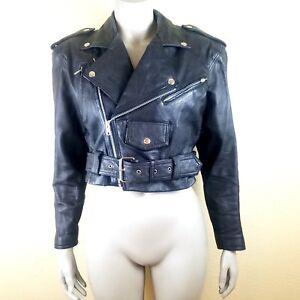 Vintage Wilson's Leather Women's Small Black Crop Moto Biker Jacket Punk Goth