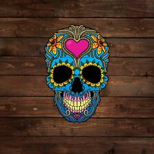 Blue Skull with Flowers and Pink Heart (Sugar Skull) Decal/Sticker