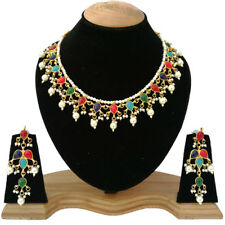 Bollywood Indian Pearls Designer Meena Kundan Gold Plated Sari Polki Jewelry Set