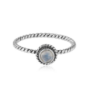 Rainbow Moonstone 925 Fine Silver Oxidized Handmade Twisted Designer Ring