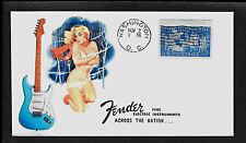 1960 Fender Stratocaster & Pin Up Girl Featured on Collector's Envelope *A346