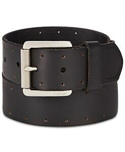 Tommy Hilfiger Denim Men Perforated Casual Leather Belt Dark Brown size M