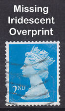 Machin 2nd Class Blue Missing Iridescent Overprint Fault Used Stamp *VERY RARE*