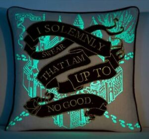 New Pottery Barn Teen Harry Potter Marauders Map Pillow Cover Glow in the Dark